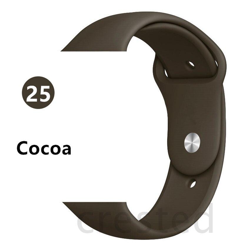 Силиконовый ремешок для apple watch 4 5 44 мм/40 мм спортивный ремешки для apple watch 3 42 мм/38 мм резиновый ремень браслет ремешок для часов apple watch Band Мягкий красочный ремешок iwatch series 4 3 2 1 - Цвет ремешка: Cocoa