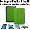 1PC Retail Smart Case For iPad Air 2 New Arrival Fashion transformative Stand leather Case For iPad 6 NO: I604