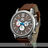 Sewor Men's Dress Mechanical Automatic Watch Analog Mens Leather Watches Brown Business Watch GIFT