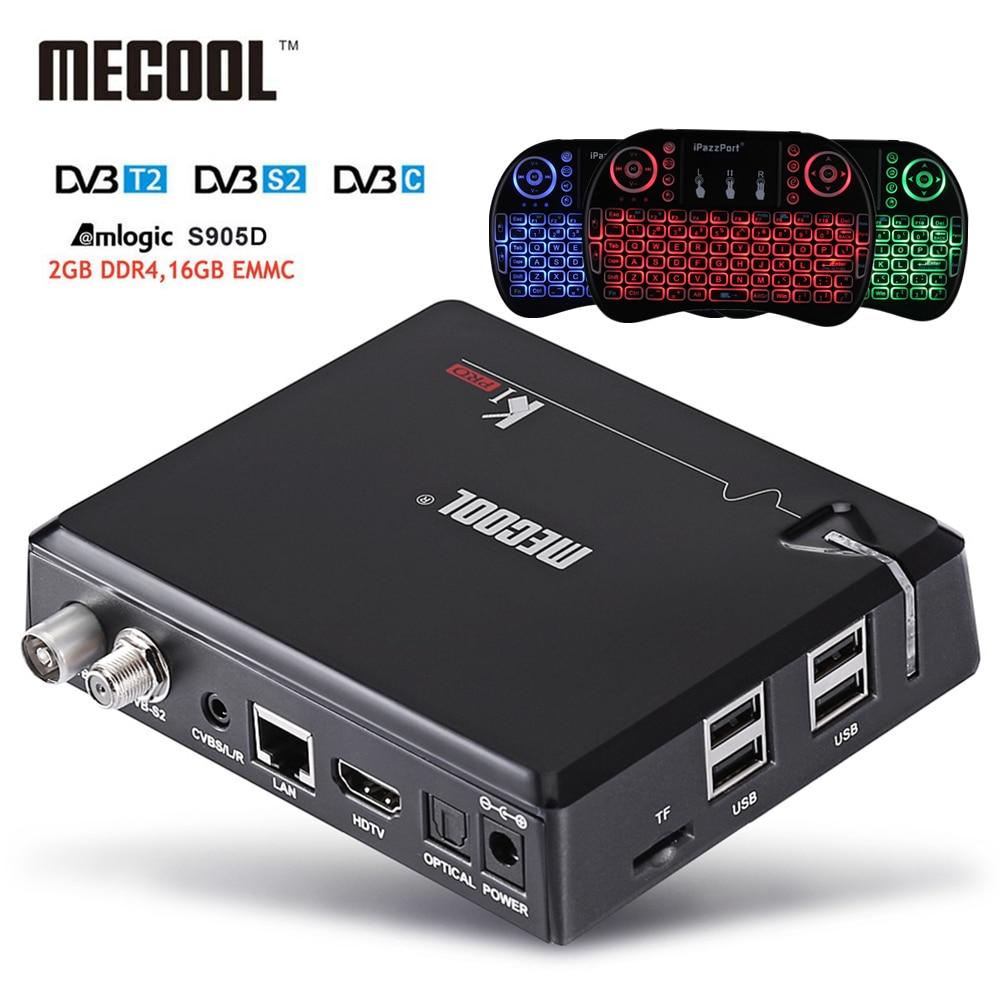MECOOL KI Pro Android 7.1 DVB S2+DVB T2/C TV Box Amlogic S905D Quad core DDR4 2GB 16GB 2.4G/5G WiFi H.265 HD UHD 4K Media Player