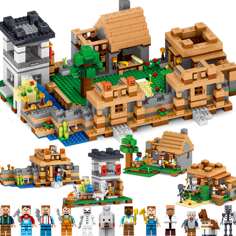 2017 MY WORLD Figures DIY Building Blocks Bricks Set Educational Toys for Children Compatible With Legoing Minecrafted minecrafted steves village building blocks toys for children my world set blocks compatible legoing figures city bricks for kids