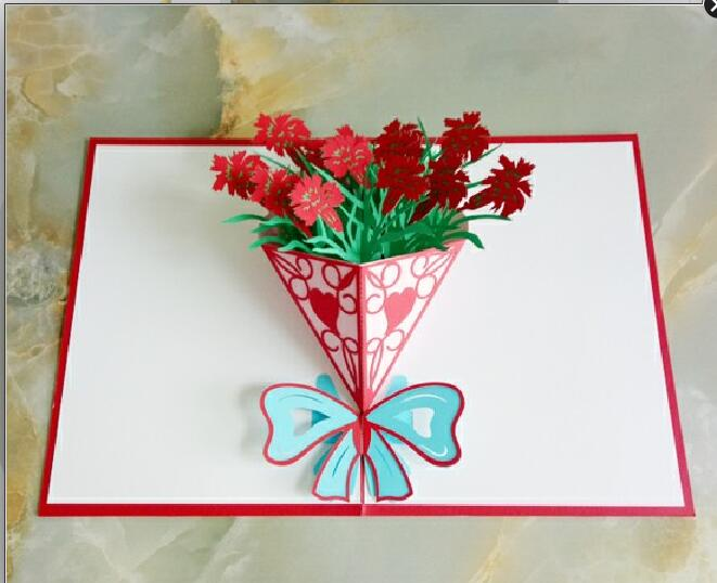 60pcs/lot 3D Pop Up Cards Valentine Lover Happy Birthday Anniversary Greeting Cards For Birthday Valentine Holiday