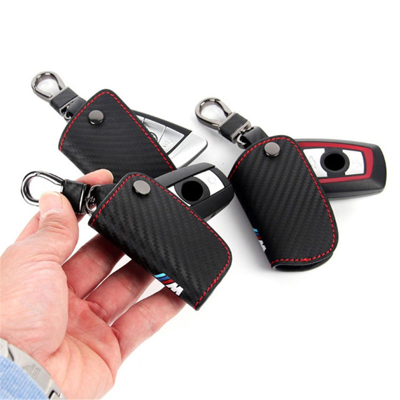 Peacekey Carbon Fiber Leather Smart Remote Key Case Cover Holder Key Chain For font b BMW