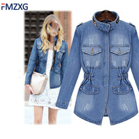 5XL 2018 Women Cardigan Basic Coat Denim Jacket Women Winter Denim Jacket for Women Jeans Jacket Blue Denim Slim Fit Casual Coat