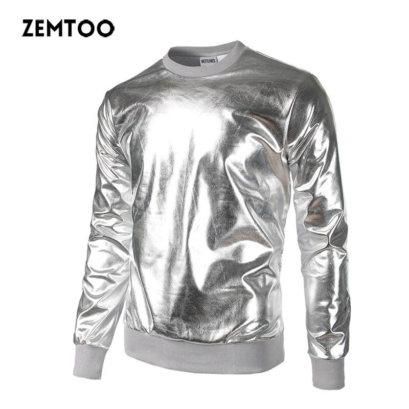 Zemto Men Sweatshirt Brand Fashion Men's Metallic Gold Shinny Sweatshirts Party Nightclub Loose Pullover Street Sweatshirts