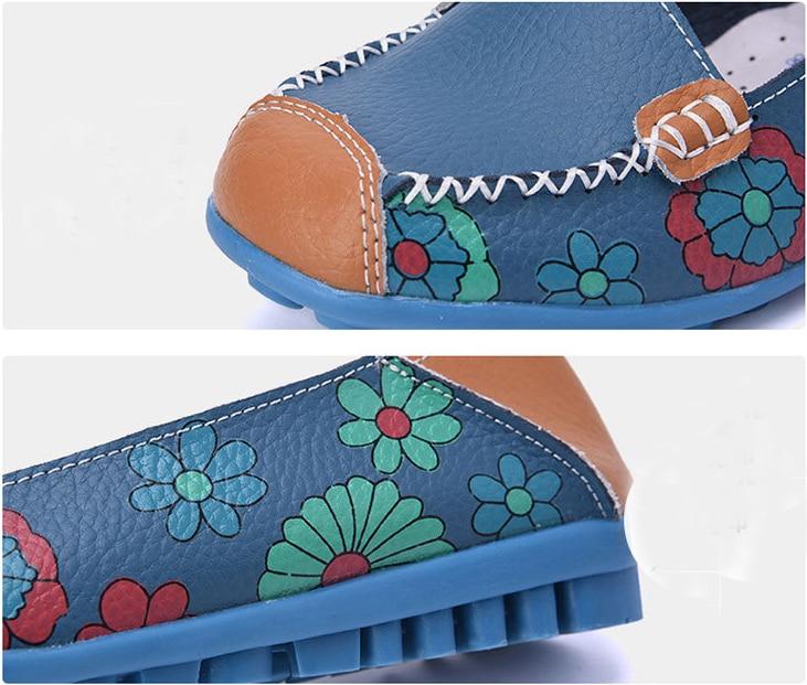 rose Slip orange En Chaussures Imprimer blanc bleu Cuir Printemps Mocassins Appartements Automne jaune Ballerines Garçon Sur Femme Véritable Femmes Noir ASTXq