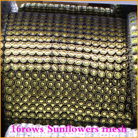 2014 Free Shipping 5yard Lot 16rows Bronze Sunflower Plastic Rhinestones Mesh Trimming Sewing Trim Wedding Dress