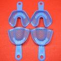 5 Pares de Tamaño Medio De Cubetas de impresión Azul De Plástico Dental Autoclavable Instrumento de Laboratorio De Prótesis