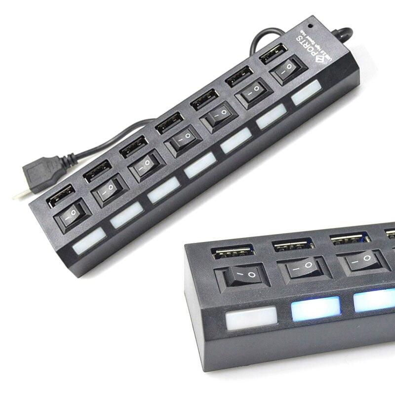 7-ПОРТОВЫЙ USB 2.0 High Speed Рабочего Зарядное Устройство Включения/Выключения Портативный USB Разветвитель Периферия Аксессуары для Мобильных Тел…