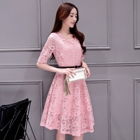 free shipping canada robe longue femme 2016 summer new Korean plus size women lace hollow robe sexy dress slim fit pink dress