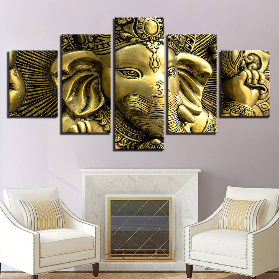Us 5 51 40 Off Abstract Photo Wall Painting 5 Panel Lord Ganesha Modular Pictures For Living Room Decorative Framework Hd Poster Canvas In Painting