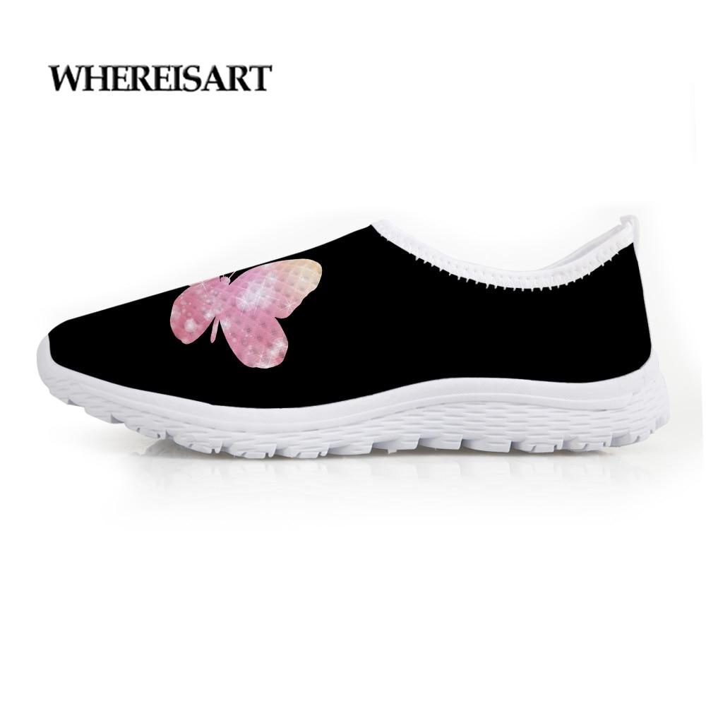 WHEREISART Fashion Summer Women Female Flats Flat Shoes Cute Butterfly Printing Breathable Ladies Sneaker Air Mesh