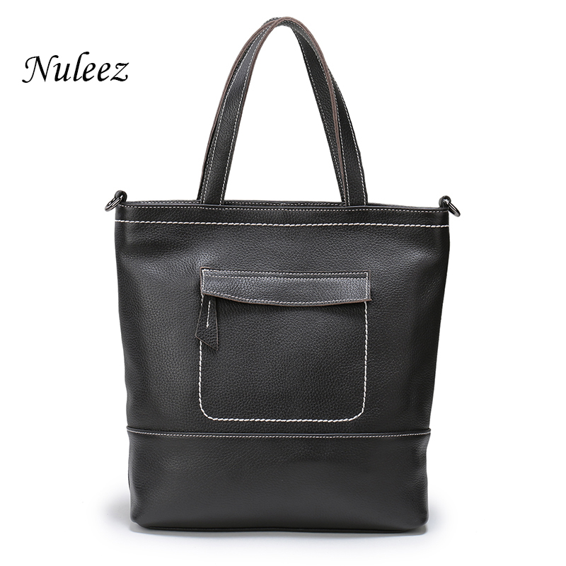 Nuleez Vintage Women Handbags Genuine Leather Big Bag Black Coffee Casual Ladies Tote Crossbody Messenger Bags Real Cowhide 1203 2017 new arrival designer women leather handbags vintage saddle bag real genuine leather bag for women brand tote bag with rivet