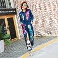 2016 Outono Personalidade Da Marca Denim Jeans Siameses Jumpsuit Mulheres Lantejoulas Dos Desenhos Animados Macacão Macacão de Manga Longa 1685