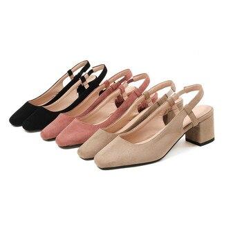 Zapatos De Tirantes Negros   ASUMER Negro Rosa Cuadrado Del Dedo Del Pie De Moda De Primavera Zapatos De Otoño Zapatos De Mujer Cómodo Tacón Cuadrado Rebaño Mujeres Med Tacones Zapatos Tamaño 33 -44