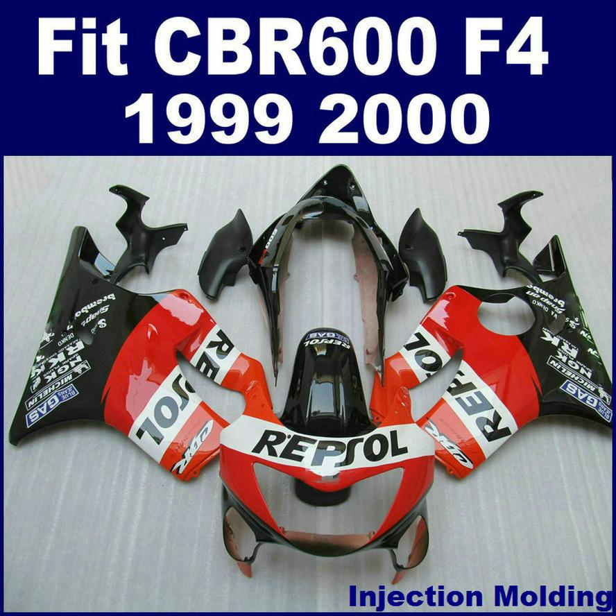 Repsol 100 Injection Molded For HONDA Fairing Parts CBR 600 F4 1999 2000 Red Black 99 00 Cbr600 Kits ZTVS 7Gifts