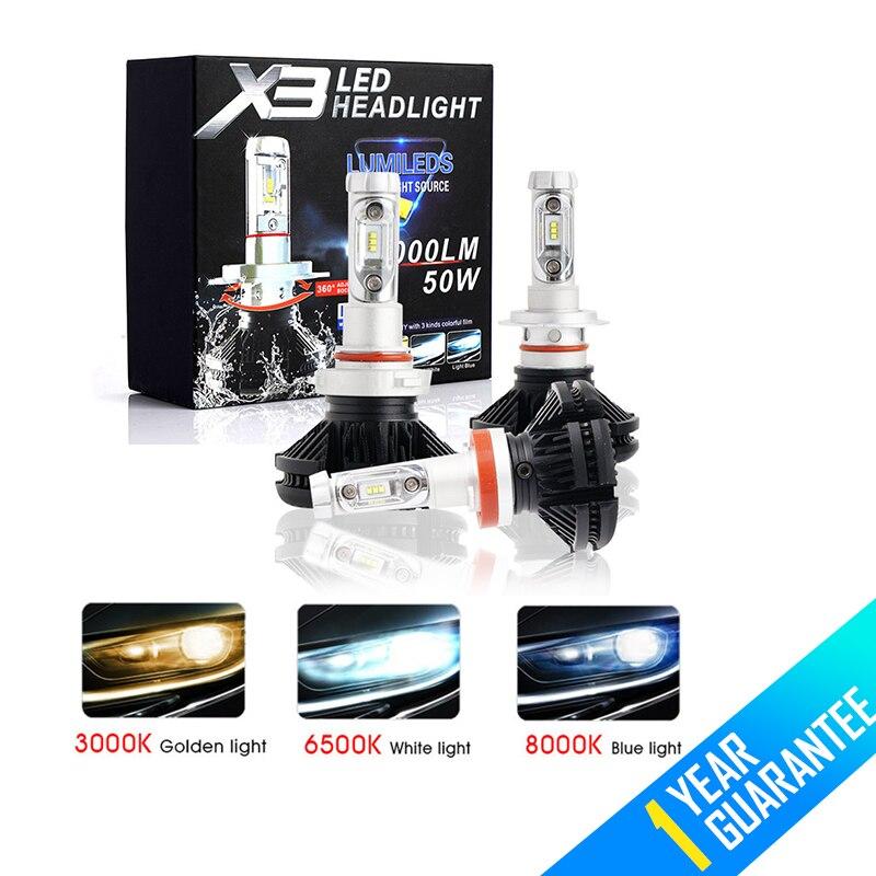 MALUOKASA 2 pcs X3 ZES H4 H7 LED Phare De Voiture Ampoule 3000 k/6500 k/8000 k Jaune blanc Glace Bleu Lampe H11 9005 9006 LED DRL Feux De Voiture