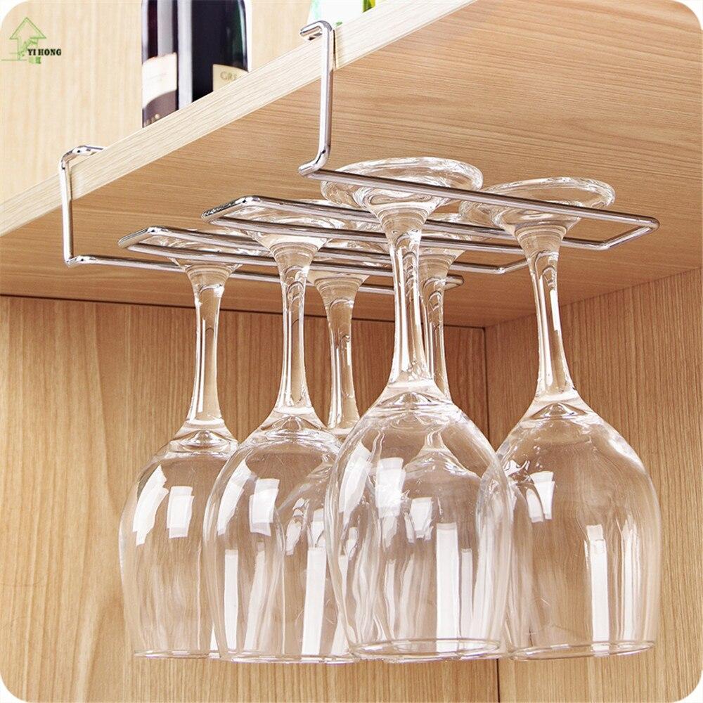 YIHONG Stainless Steel Wine Glass Holder Under Cabinet Wall Wine Rack  Storage Organizer Stemware Racks Hanger Shelf Holder In Storage Holders U0026  Racks From ...