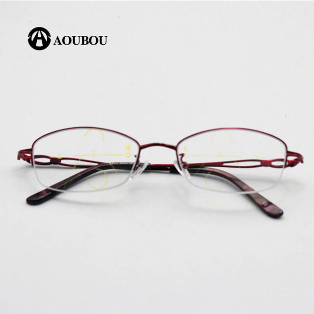 54c01e45906 Online Shop Progressive multi-focal point zooming look nearly double-use  color light reading women s glasses ultra-light Elegant red box