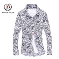 New 2015 Brand Autumn Men Slim Fit Long Sleeve Shirt Luxury Cotton Leisure Floral Male Formal Stylish Shirt Camisa Masculina