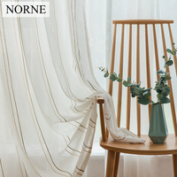 NORNE Modern Semi White Striped Tulle Yarn Dyed Sheer Curtain Voile Panels For Window Living Room