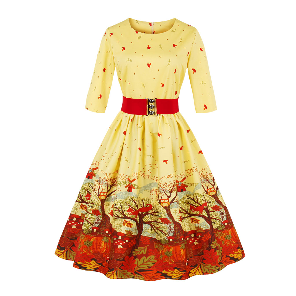 Detail Feedback Questions about 2018 Christmas Dress Women Plus Size Winter  Dress Long Sleeves Vintage Dress Patchwork Floral Retro Casual Party Swing  ... bcd8499e23d8