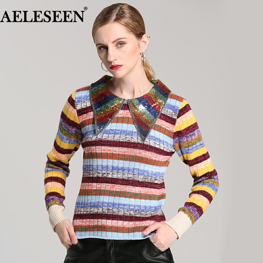 Designer Rainbow Striped Sweater 2017 Autumn New Fashion Full Sleeve Polo knitted High Quality Women Shiny Pullovers Swearter