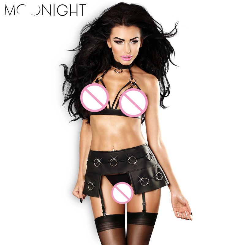 MOONIGHT Women Sexy Lingerie Hot Porn Erotic Teddy Lingerie Nightclub Faux Leather Lingerie Suit Sexy Costumes Exotic Apparel