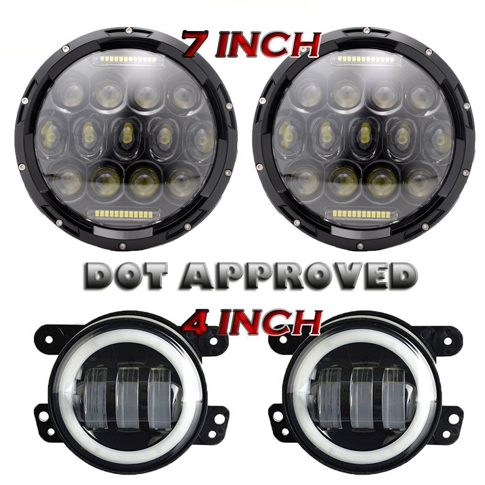 Pair 75W 7 Led Headlights DRL Projection + 4 inch Fog Lights White Halo For Jeep Wrangler JK TJ LJ Sahara Rubicon Unlimited 7 led halo headlights for jeep wrangler jk jku tj lj rubicon sahara unlimited white drl amber turn signal 4 halo fog light