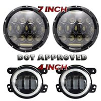 Pair 75W 7 Led Headlights DRL Projection 4 Inch Fog Lights White Halo For Jeep Wrangler