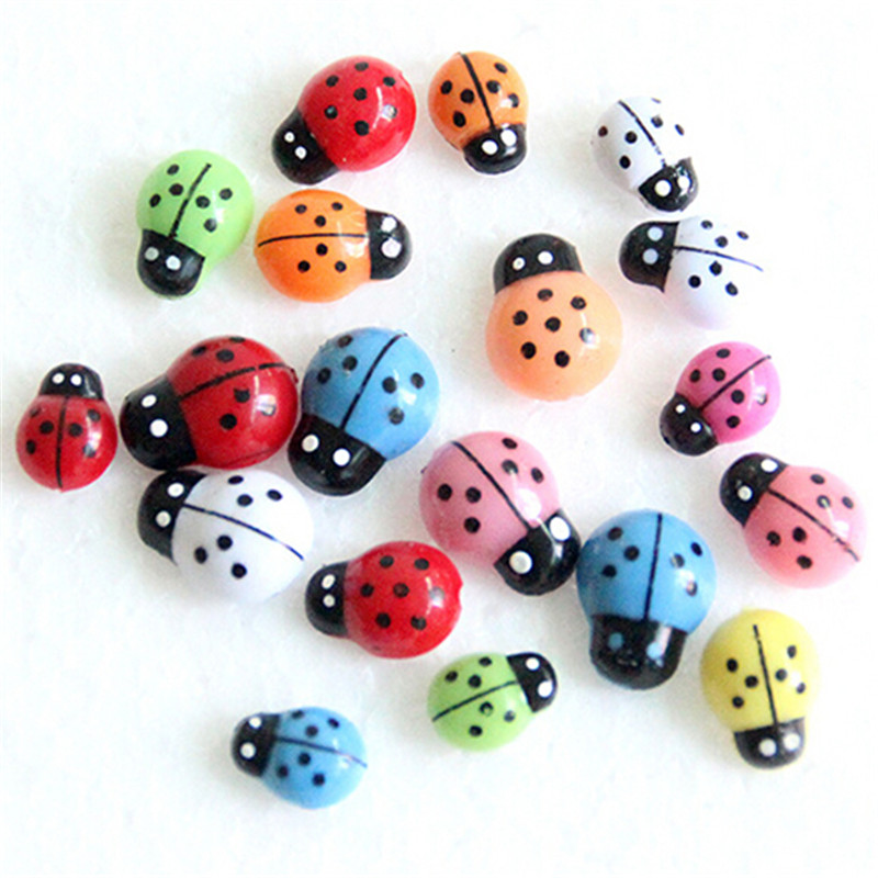 HOT 100Pcs Colorful Mini 3D Wall Stickers Home Decor Kid Toys DIY Ladybird Ladybug