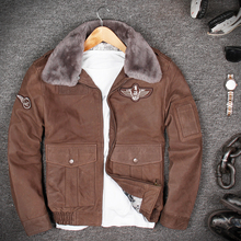 Wool Collar Air Flight Genuine Leather Jacket 100 Cow Skin Genuine Leather Coat A2 Pilot Leather Jacket cheap Leather Suede Cow Leather Turn-down Collar Short COTTON STANDARD Full Slim Zippers Pockets Collar Detachable DAYDAYFASHION