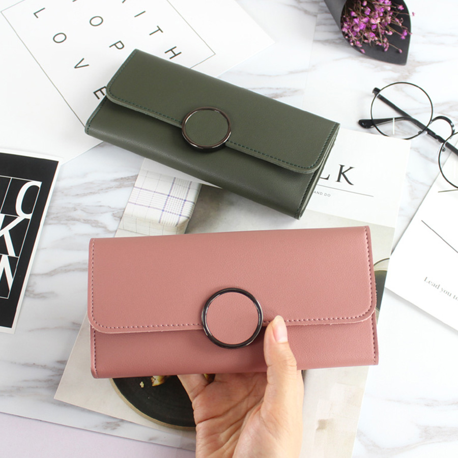 2017 Fashion Long Wallets Women Solid Pink Card Holder Wallet Female Black Credit Card Coin Purse Brand 3 Fold Bolsa Woman New