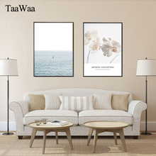 TAAWAA Wall Art Canvas Flower Abstract Painting Seascape Poster Print Nordic Minimalist Decorative Picture for Living Room