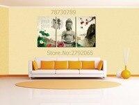 3 cái có khung Phật statu Sen đồng bằng cảnh quan hiện đại vải treo tường nghệ thuật hình ảnh in cho phòng khách trang trí