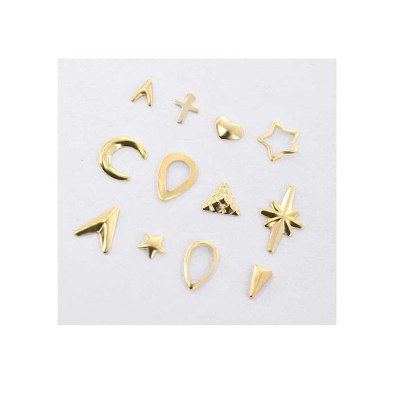 Pandahall 1 Box Gold Metal Hollow Nail Art Studs Decorations Starfish Shell Anchor Triangle Pattern Riverts Manicure Nail Wheel in Rhinestones Decorations from Beauty Health