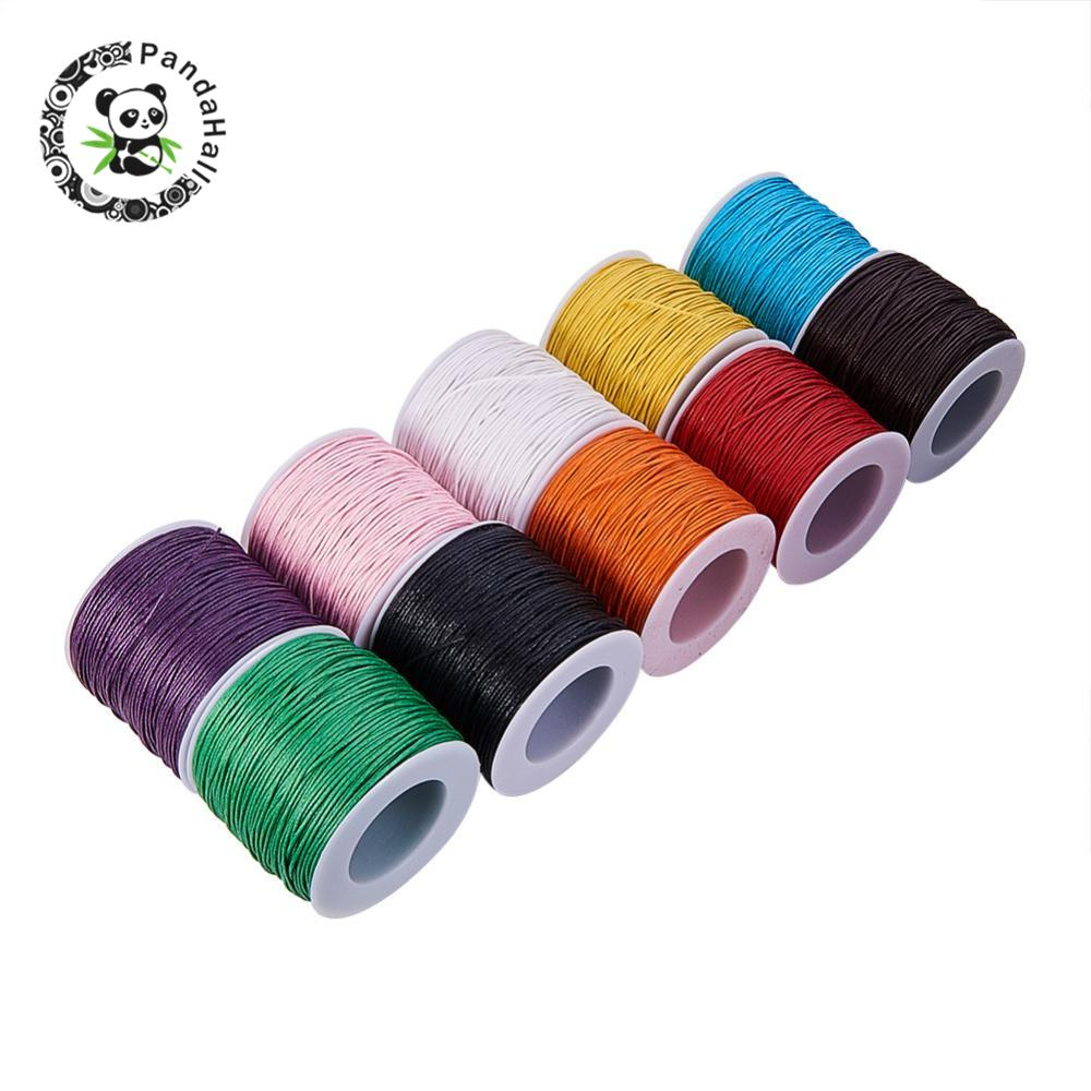 100yard Waxed Thread Cotton Cord 1mm String Strap Fit Bracelet Necklaces Jewelry Findings for DIY ,about 27colors