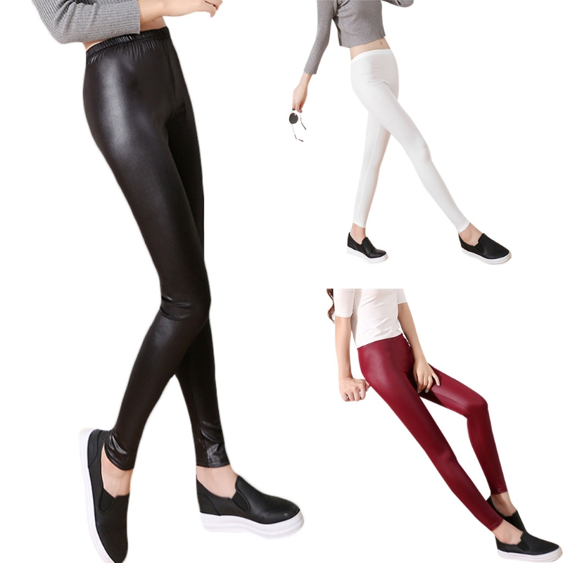 Fashion Casual Leather Leggings Sexy Women Cropped Elastic Leggins Thin Leggings
