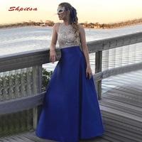 Ярко синий длинный вечерние платья вечерние Роскошные трапециевидные Кристаллы бисером Большие размеры женские Формальное вечернее плать