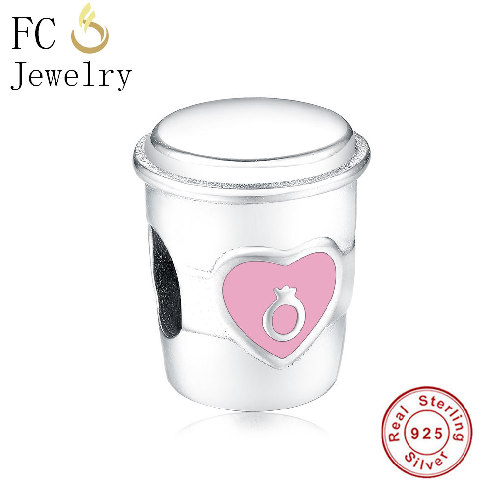 FC Jewelry Fit Original Pandora Charm Bracelet 925 Sterling Silver Pink Enamel Coffee Mugs Cup Rings Beads Making Berloque 2019