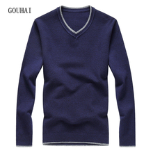 Для мужчин S трикотажные Свитера Для мужчин пуловер 2017 осень-зима v-образным вырезом сплошной плюс Размеры Slim Fit кашемир Для мужчин S свитер Одежда высшего качества M-8XL