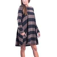 2017 여성의 긴 소매 스트라이프 인쇄 캐주얼 스윙 튜닉 드레스 느슨한 포켓 vestidos