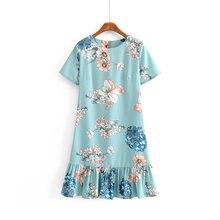 2019 femmes mode o cou à manches courtes imprimé floral ourlet plissé volants mini robe rétro dames élégant chic robes décontractées DS2239