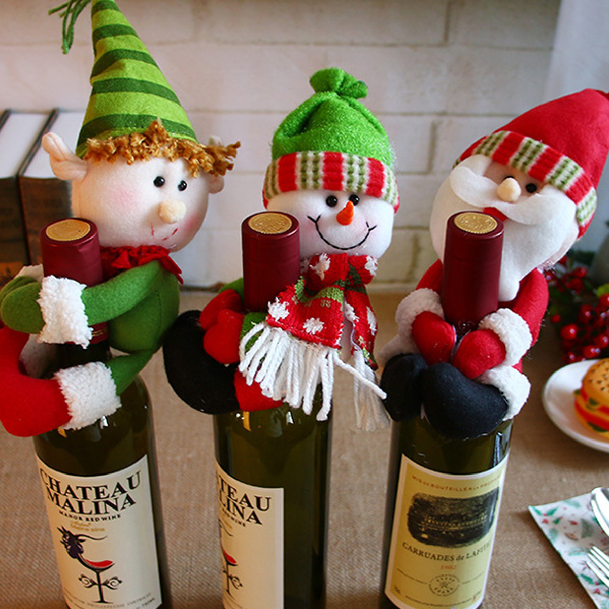 Discreet Nhbr-1pcs Table Decorations Wine Bottle Cover Ornament Wedding Table Decorations Novelty Decoration Snowman Santa Clause Lovel Dust Covers