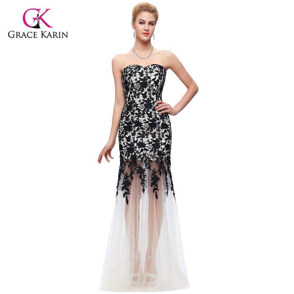 ᗖMermaid Evening Dress 2018 Grace Karin Black Ivory lace Chiffon ...