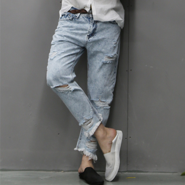 brand man jeans fashion 2017 new spring light blue jeans trousers wash old men's jeans ripped distressed skinny jeans men K651 inc international concepts petite new diva wash skinny leg jeans 6p $69 5