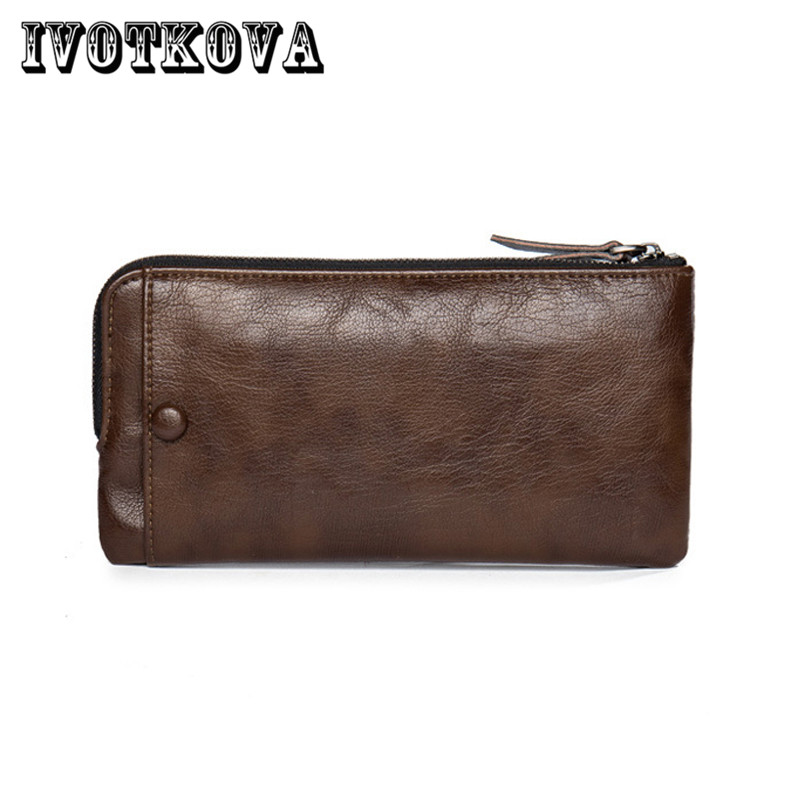 IVOTKOVA Men Wallet Pu Leather Male Purse Long Phone Bag Natural Cowhide Clutch Bag Trendy Fashion Card Holder Man Hand Bag brand men wallets pu leather 2017 male clutch bag men long purses large capacity man black wallet zipper male card holder purse