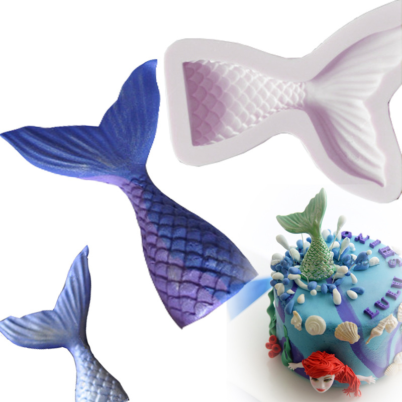 Small Cute Mermaid Tail Fondant Cake Silicone Mold Cake Decorating Kitchen Baking Tools Halloween Chocolate Candy Molds FM1129