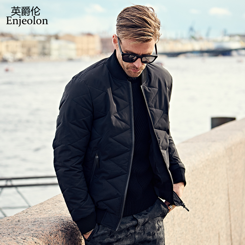 Enjeolon Brand Cotton Padded Jacket coat Men Parka black stand collar coat Thick Quilted fashion plus size 3XL Coat Men MF0277 stand collar ruffle hem quilted coat