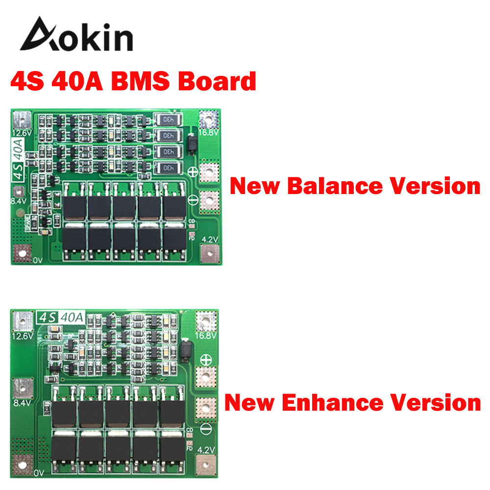 Aokin 4S 40A Li-ion Lithium Battery Protection Board 18650 Charger PCB BMS For Drill Motor 14.8V 16.8V Enhance/Balance Version